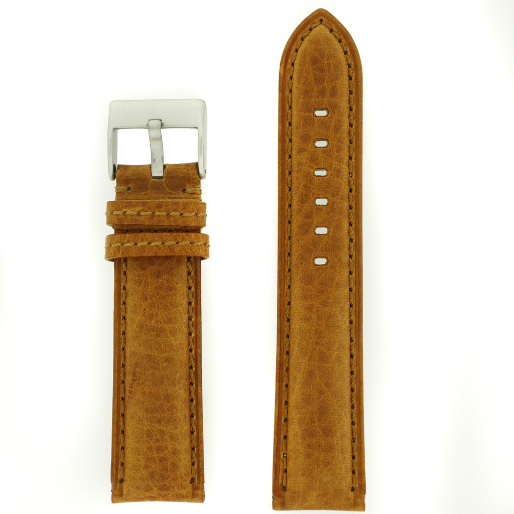 Leather Watch Band Thick Padded Tan Brown Stitching LEA356 | TechSwiss | Front