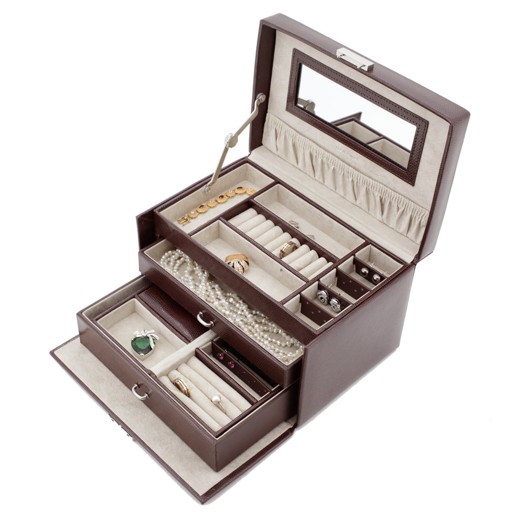 Jewelry Box with Travel Case - Brown Leather