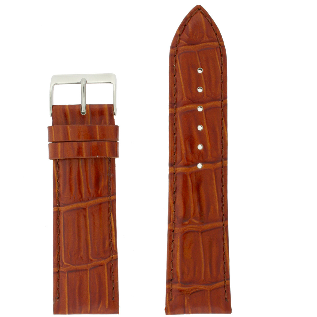 Light Brown Leather Watch Band   Crocodile Grain Leather Watch Strap   TechSwiss   Front