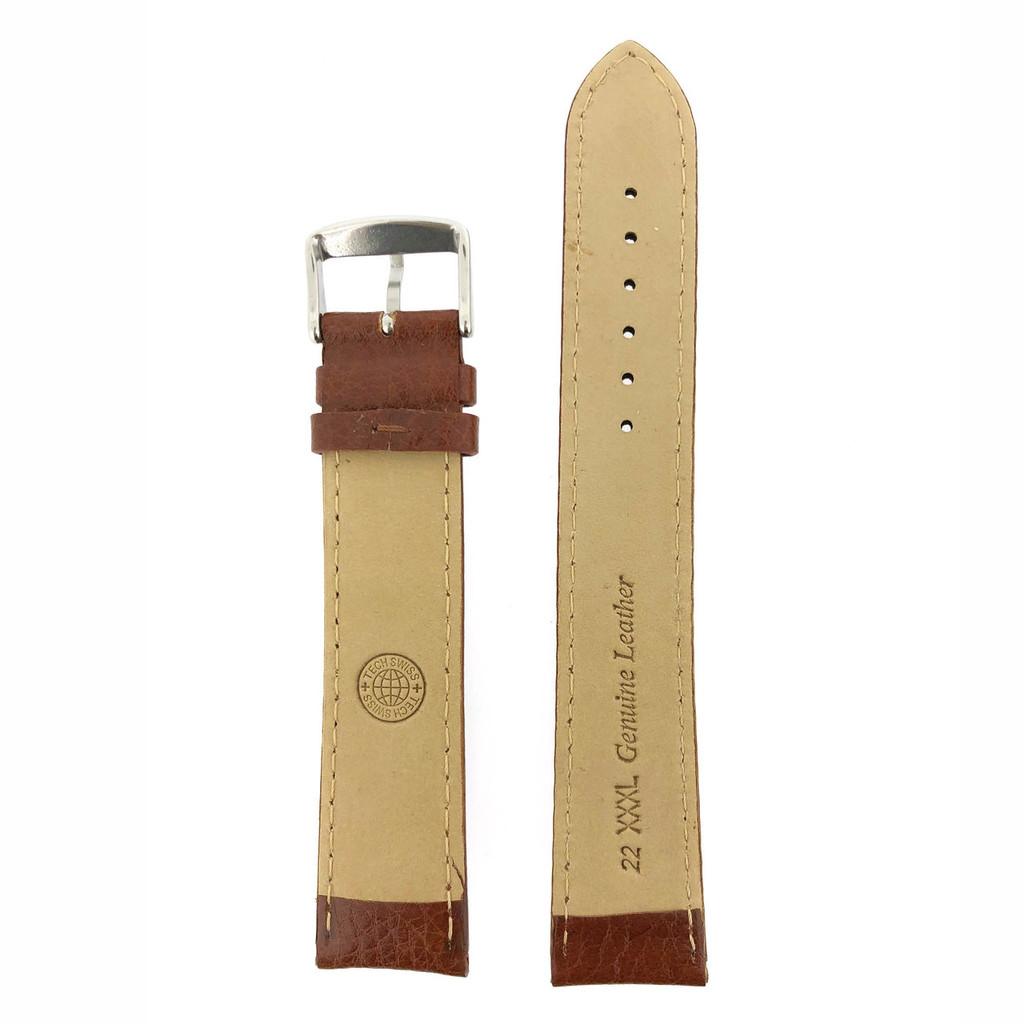 Brown Large Long Watch Band | Leather Band | TechSwiss | Back