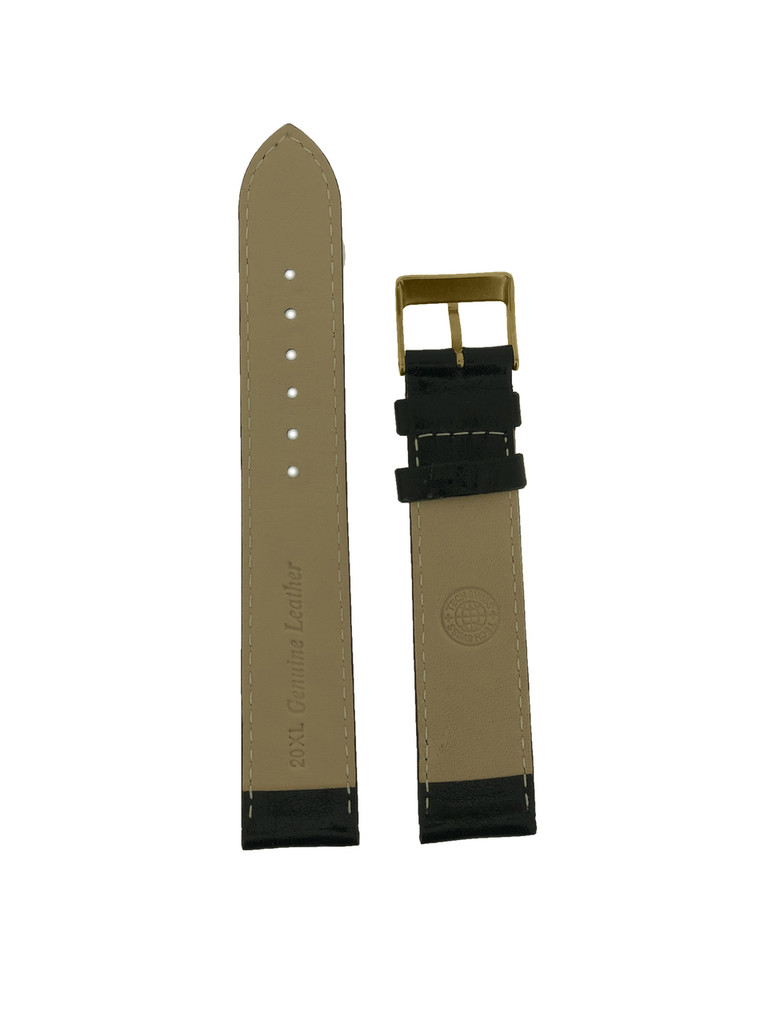 Extra Long Lite Padded Watch Band in Black Calfskin Ladies Mens