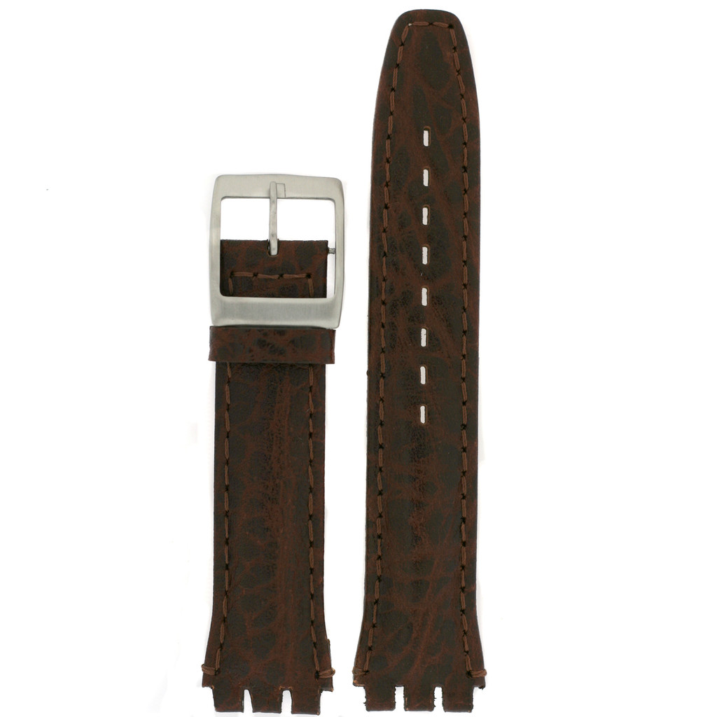 Swatch Style Leather Watch Band Brown Italian Leather 17 millimeters   TechSwiss   Front