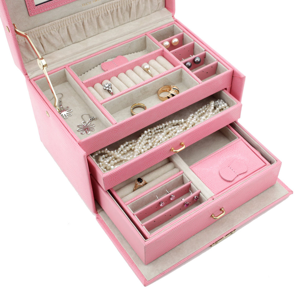 Pink Leather Jewelry Box | TechSwiss Ladies Jewelry Case TS382PINK | Open