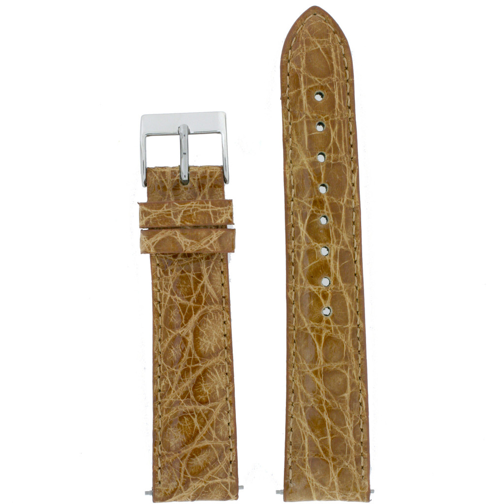 Genuine Crocodile Camel Brown Watch Band Padded Built-In Spring Bars Ladies Length