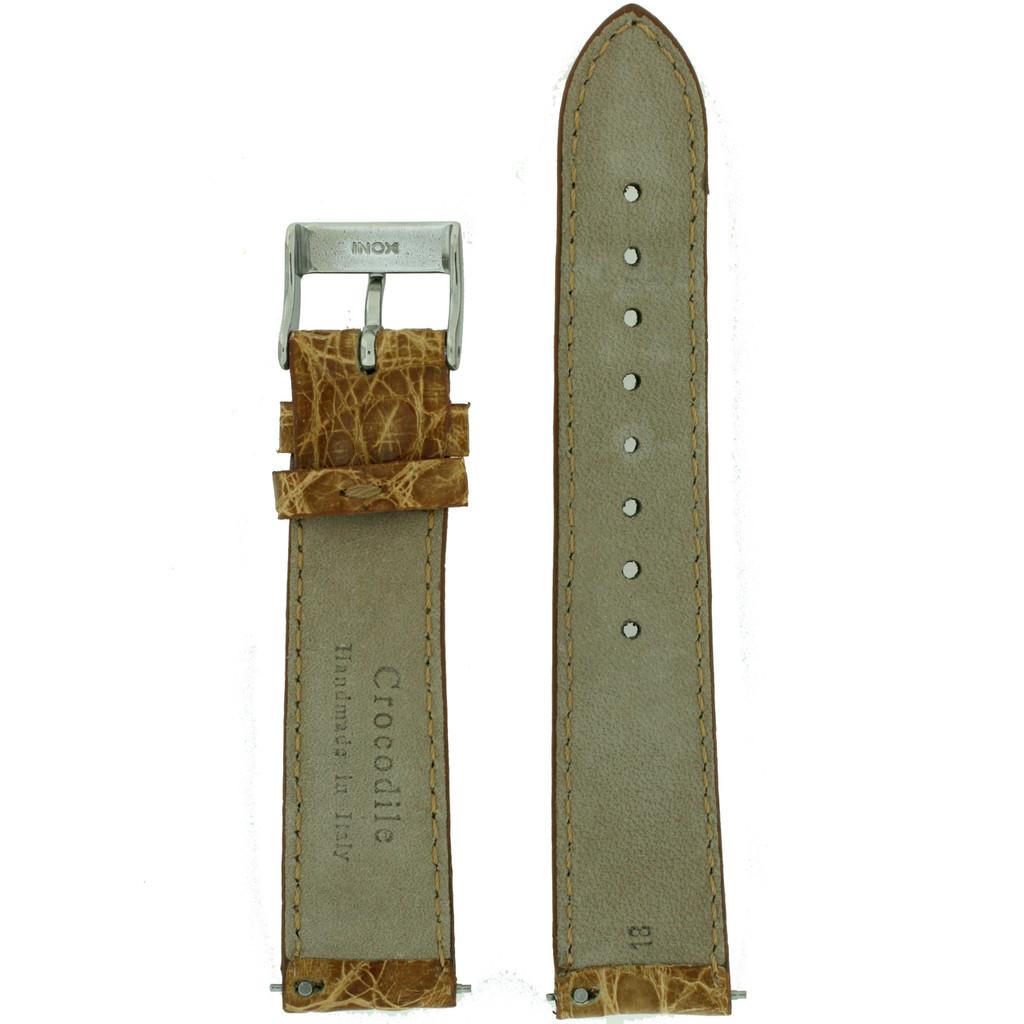 Brown Crocodile Watch Strap  |Techswiss  | Original Crocodile LEA849  | Back