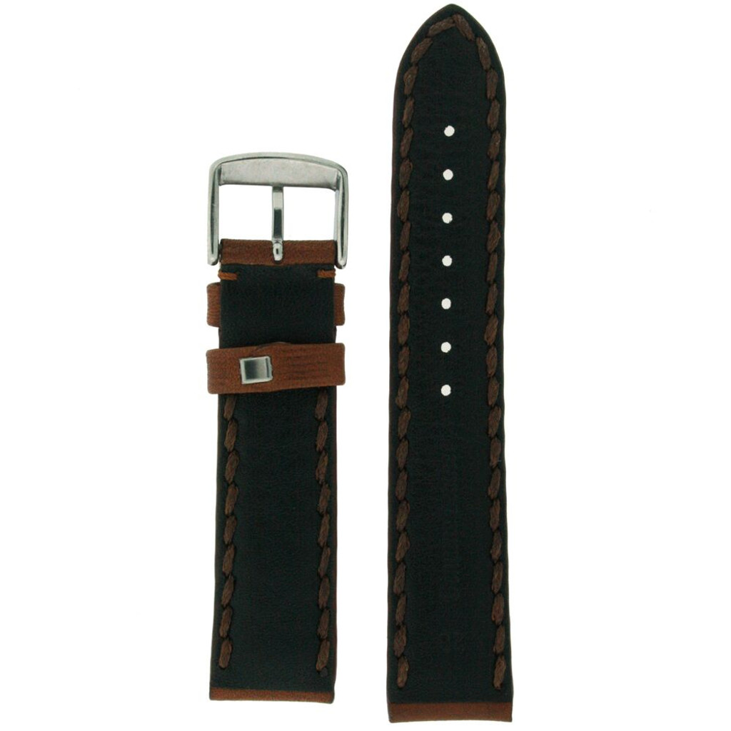 Heavy Stitched Brown Leather Padded Mens Watch Band Strap Handmade