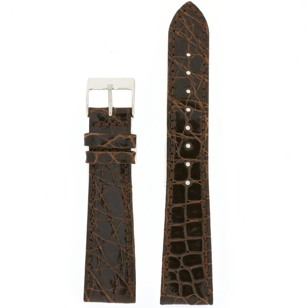 Genuine Crocodile Watch Strap Dark Brown - Non Padded Stitched