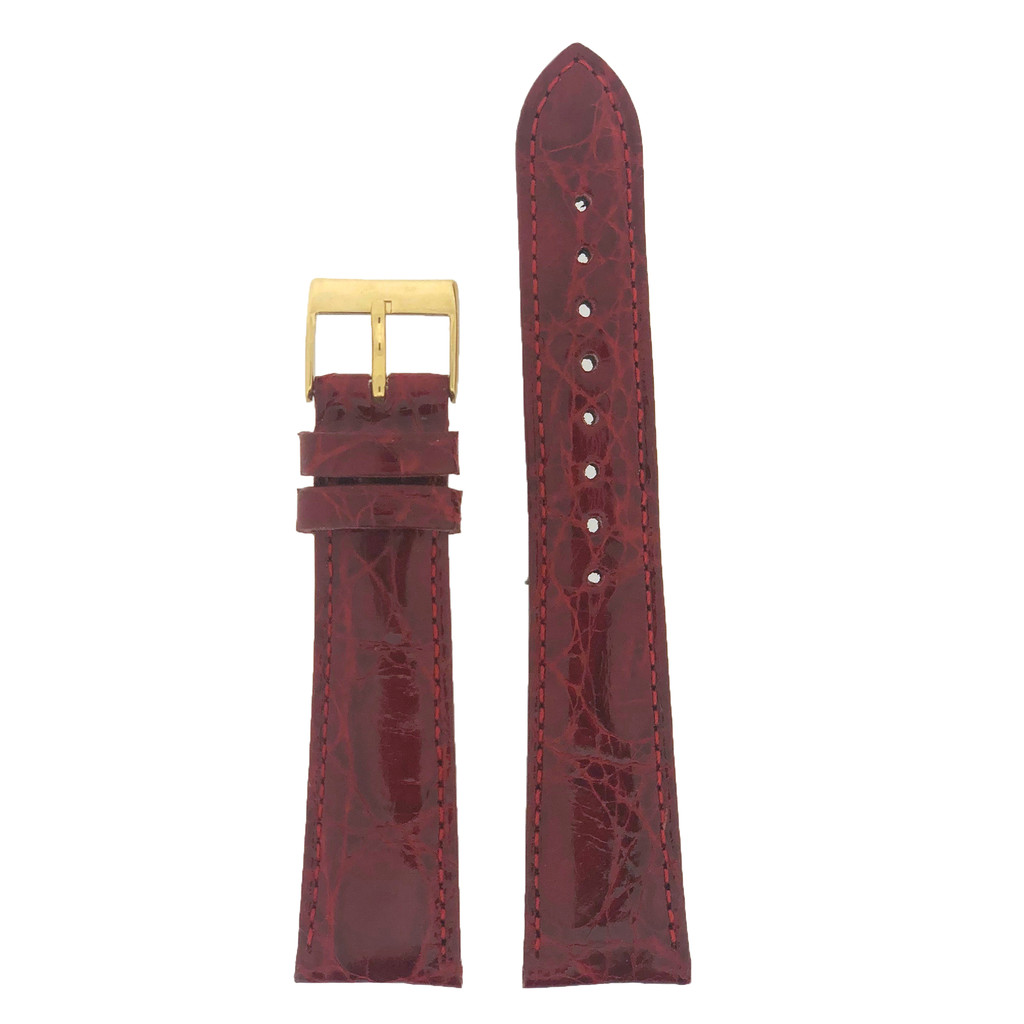 Genuine Crocodile Red Watch Band Padded - 18mm 20mm 22mm