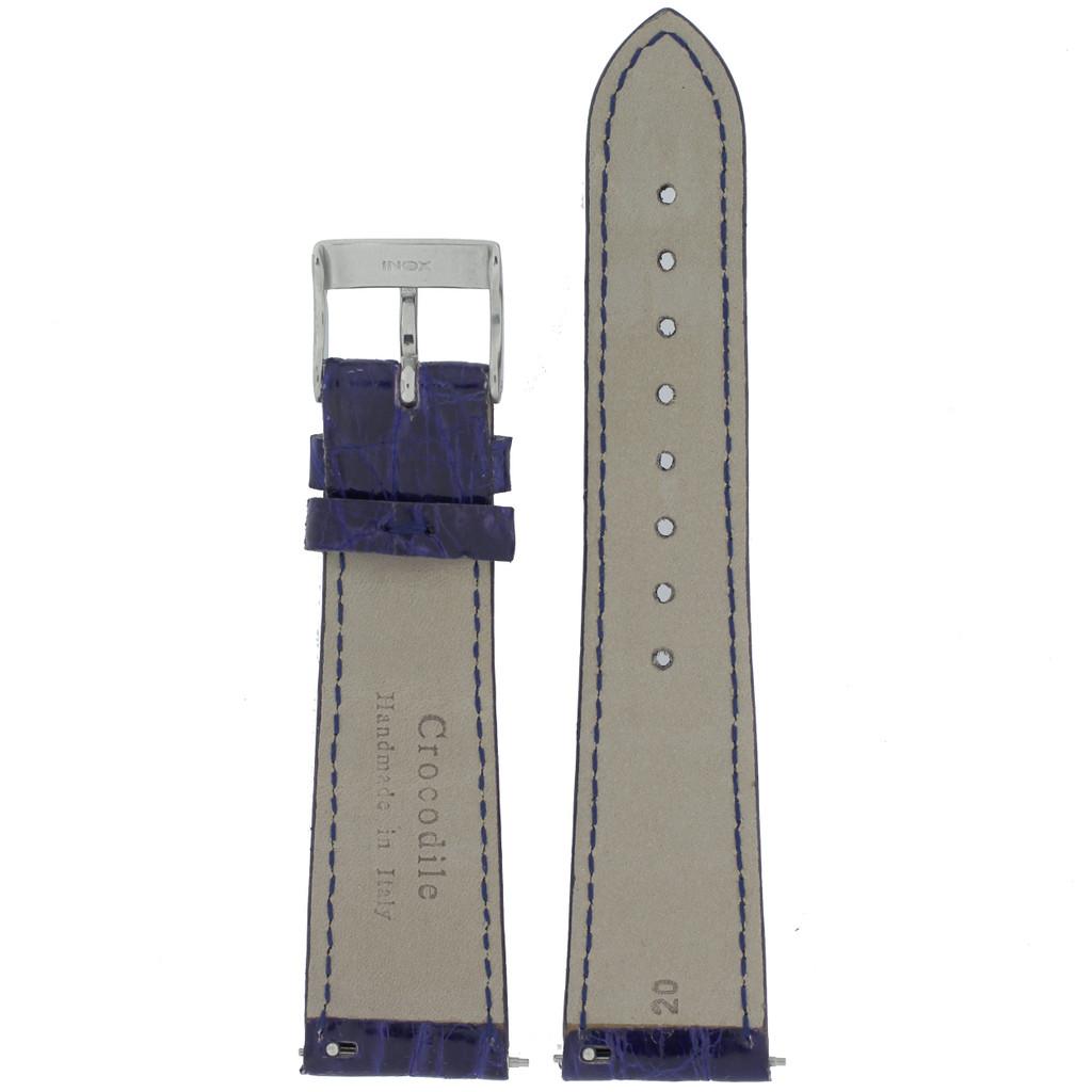 Genuine Crocodile Purple Blue Watch Band Padded Built-In Spring Bars - Ladies Length