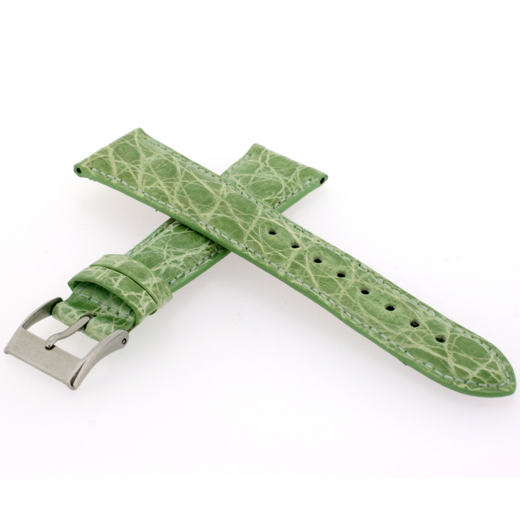 Genuine Crocodile Lime Green Watch Band Padded Built-In Spring Bars - Ladies Length