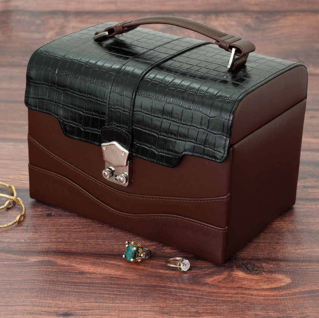 Brown Embossed Leather Jewelry Box with Black Contrast Trim   Bucasi Modern Jewelry Boxes   TS390BROWN   Main