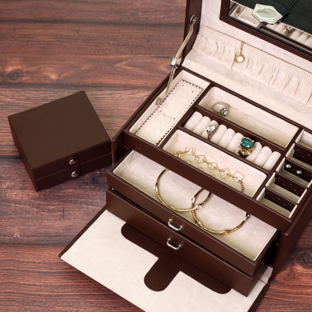 Brown Embossed Leather Jewelry Box with Black Contrast Trim   Bucasi Modern Jewelry Boxes   TS390BROWN   Top