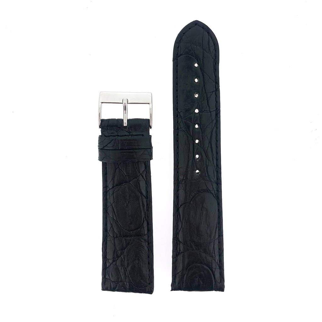 Watch Band Genuine Crocodile Black Padded Stitched - Matte Finish 22mm