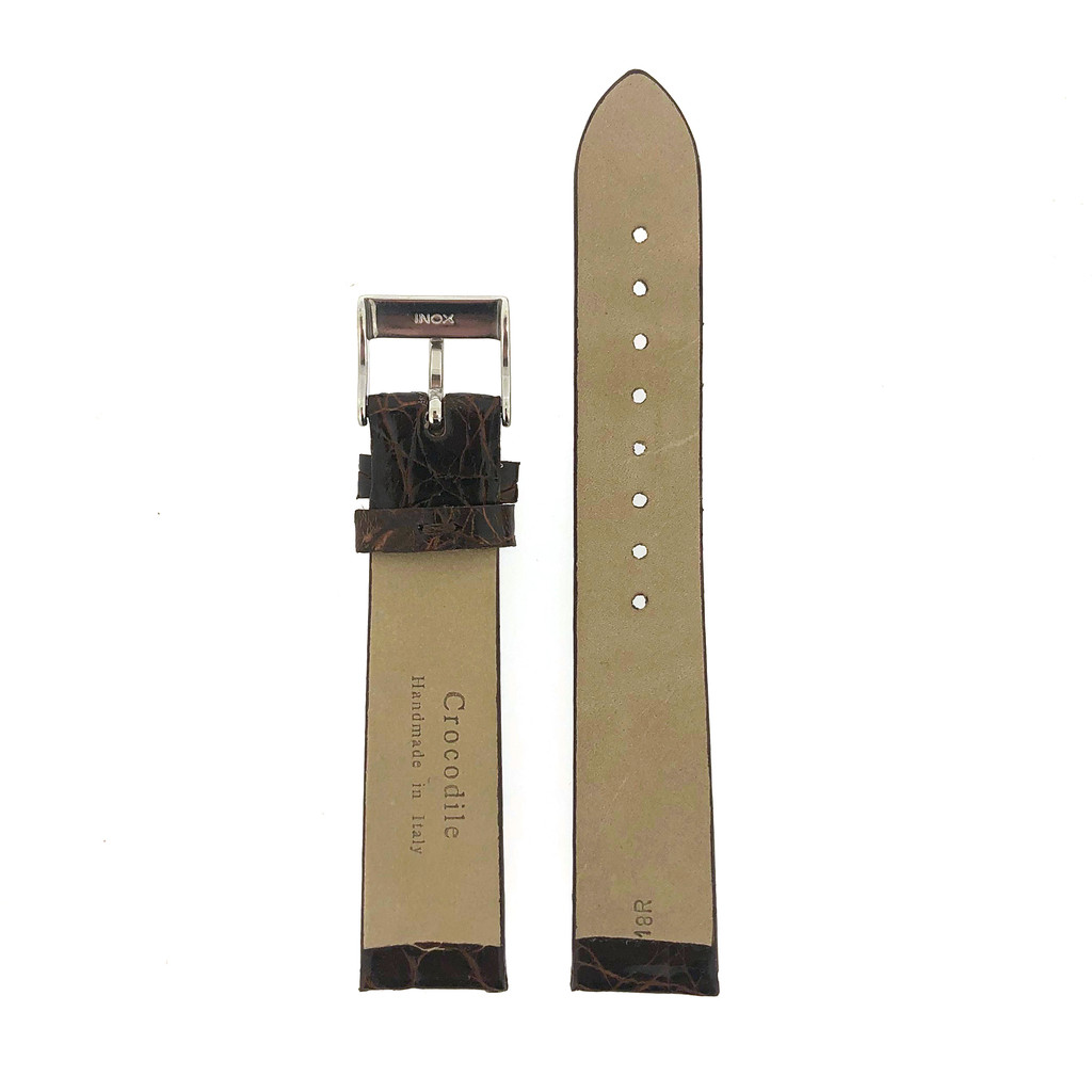 Genuine Crocodile Dark Brown Watch Band- Non-Padded Non-Stitched Vintage