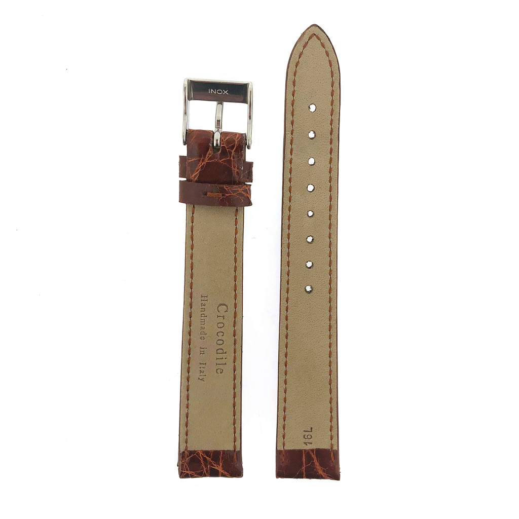 Long Genuine Crocodile Honey Brown Watch Band - Padded Stitched