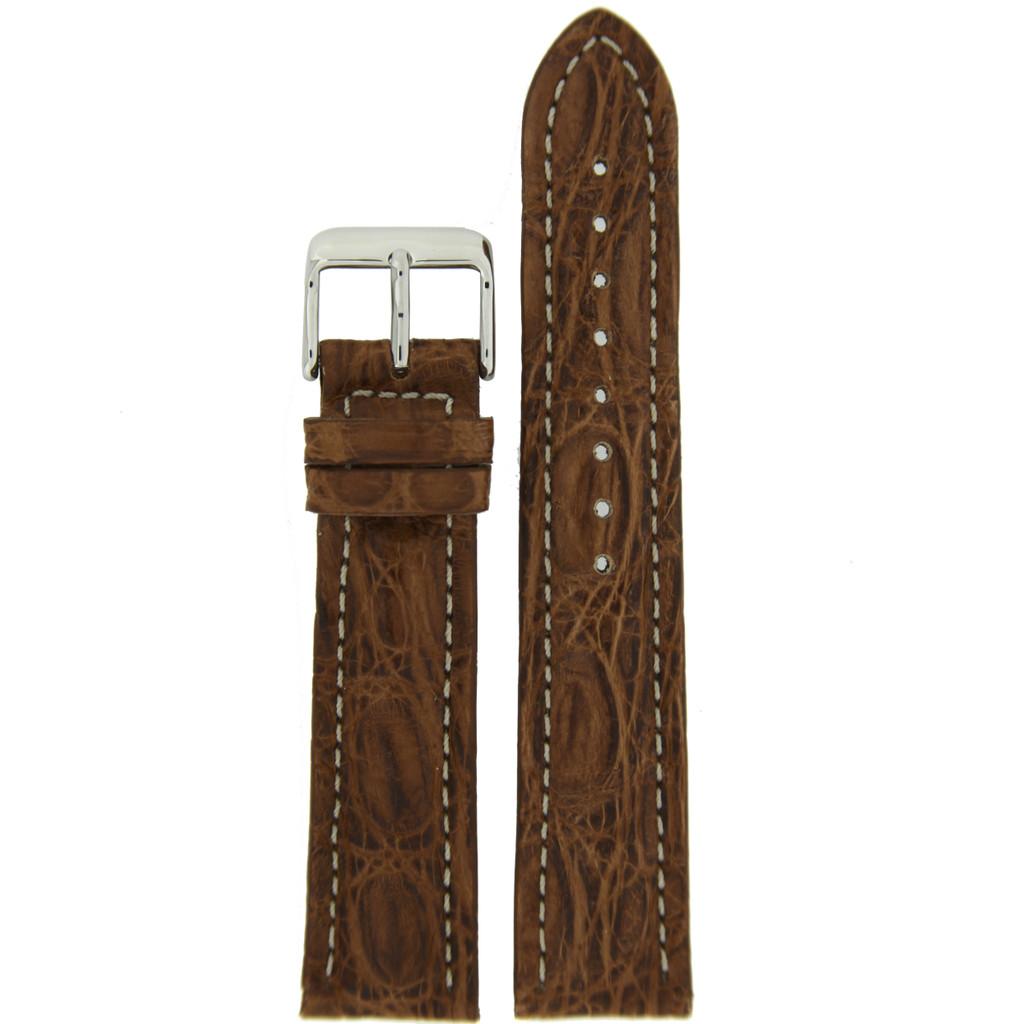 Brown Genuine Crocodile Watch Band Matte   TechSwiss  LEA852   Main