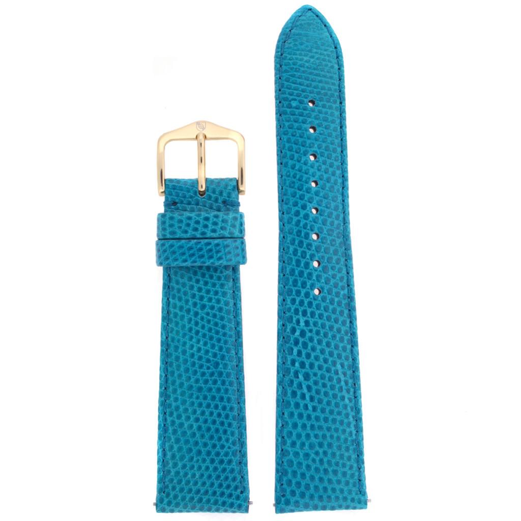 Genuine Lizard Watch Band   Blue Exotic Skin Watch Band LEA722   Front