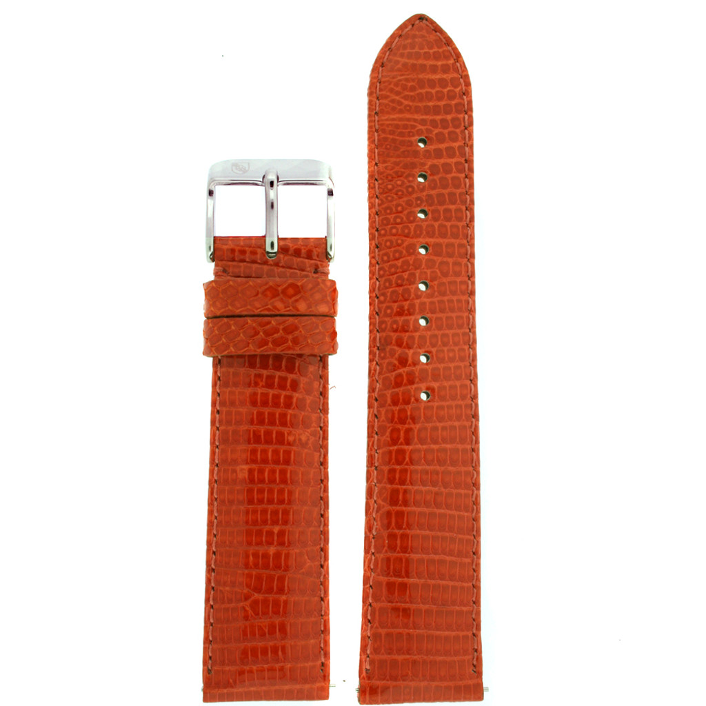 Genuine Lizard Watch Band | Orange Exotic Skin Watch Band LEA723 | Main