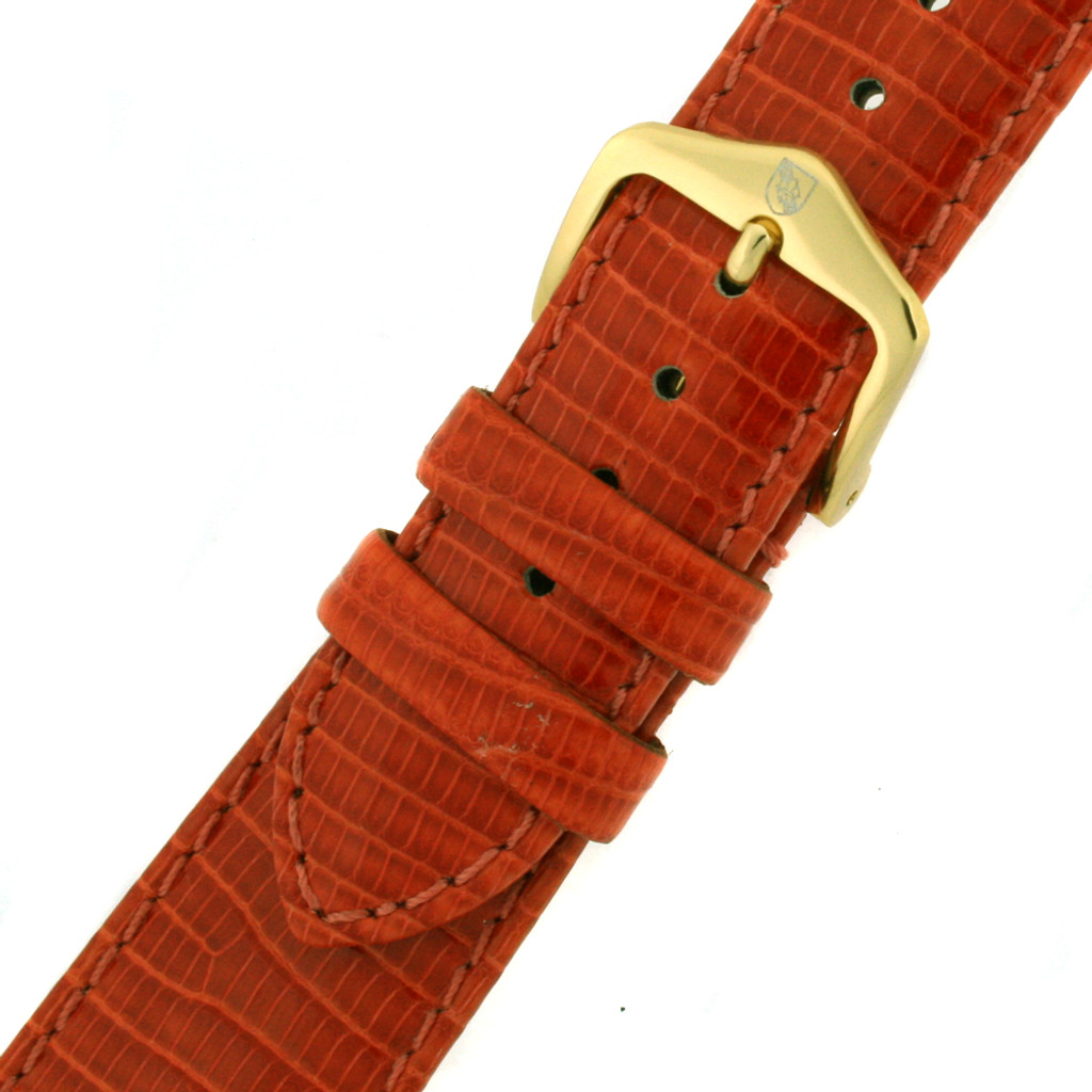 Orange GENUINE Lizard Watch Band - Quick-Release