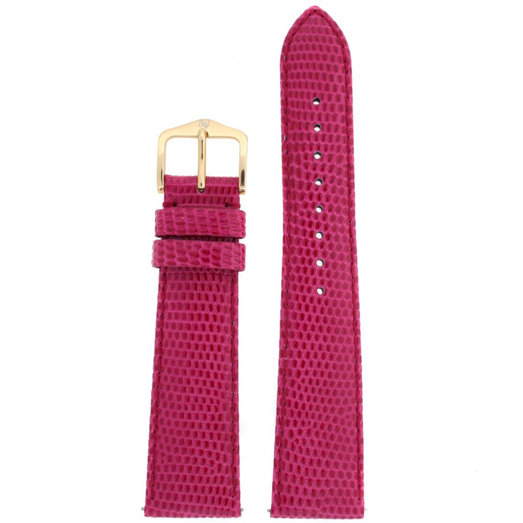 Pink Fuchsia Genuine Lizard Watch Band Ladies Length - Quick-Release
