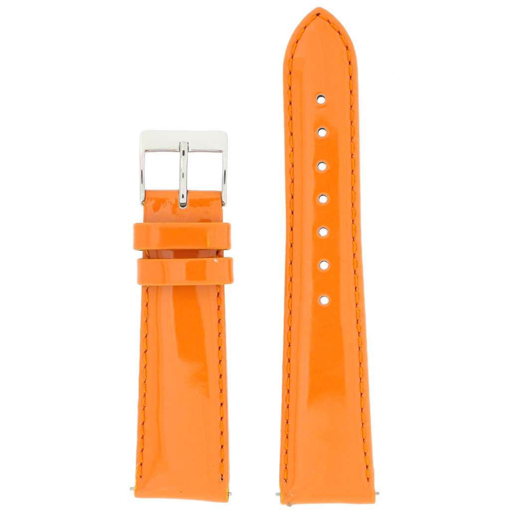 Genuine Leather Watch Band | Orange Patent Leather Watch Band LEA406 | Main