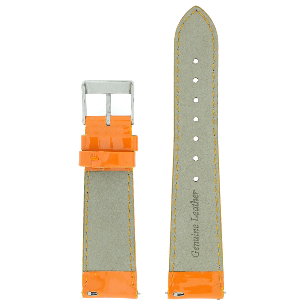 Orange Watch Band Patent Leather LADIES LENGTH Built-In Spring Bars Short
