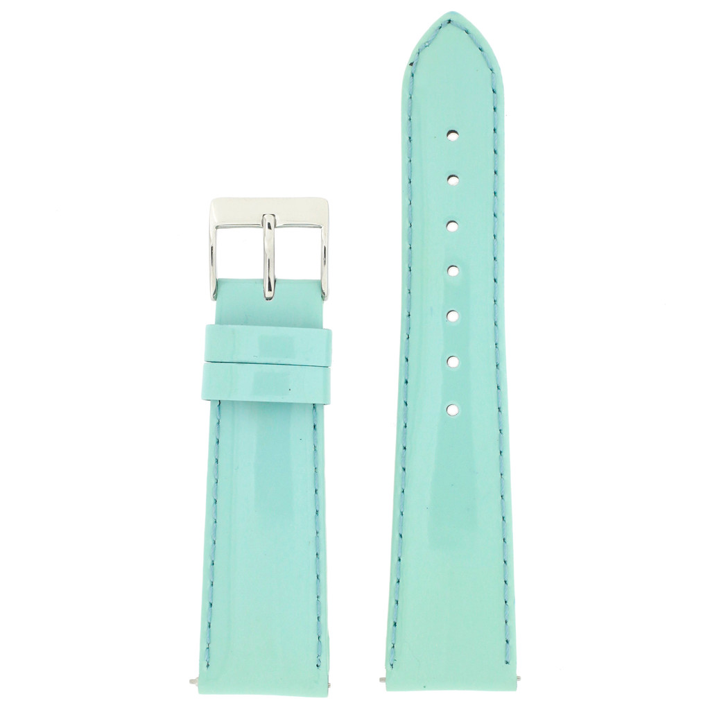 Genuine Leather Watch Band | mint Blue Patent Leather Watch Band LEA405 | Main