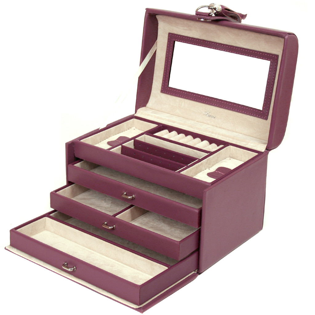 Leather Jewelry Box in Plum