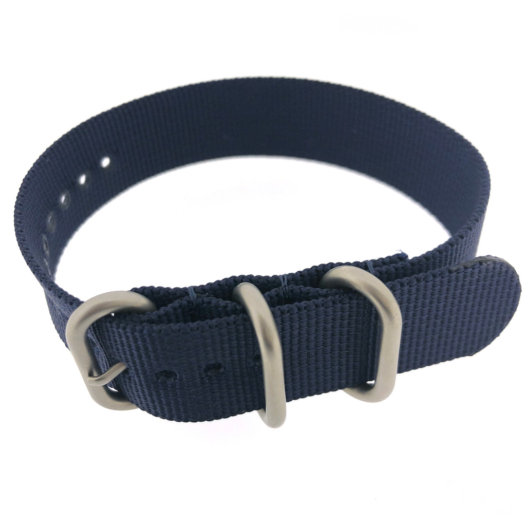 Watch Band Woven Nylon One Piece Sport Style Navy Blue- 18mm
