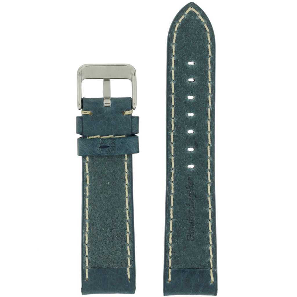 Watch Band Leather Saddle Blue White Stitching Heavy Buckle LEA443 | TechSwiss | Rear