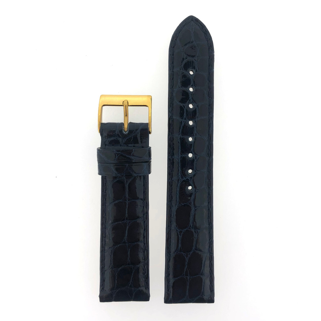 Navy Blue Crocodile Watch Strap - Top View