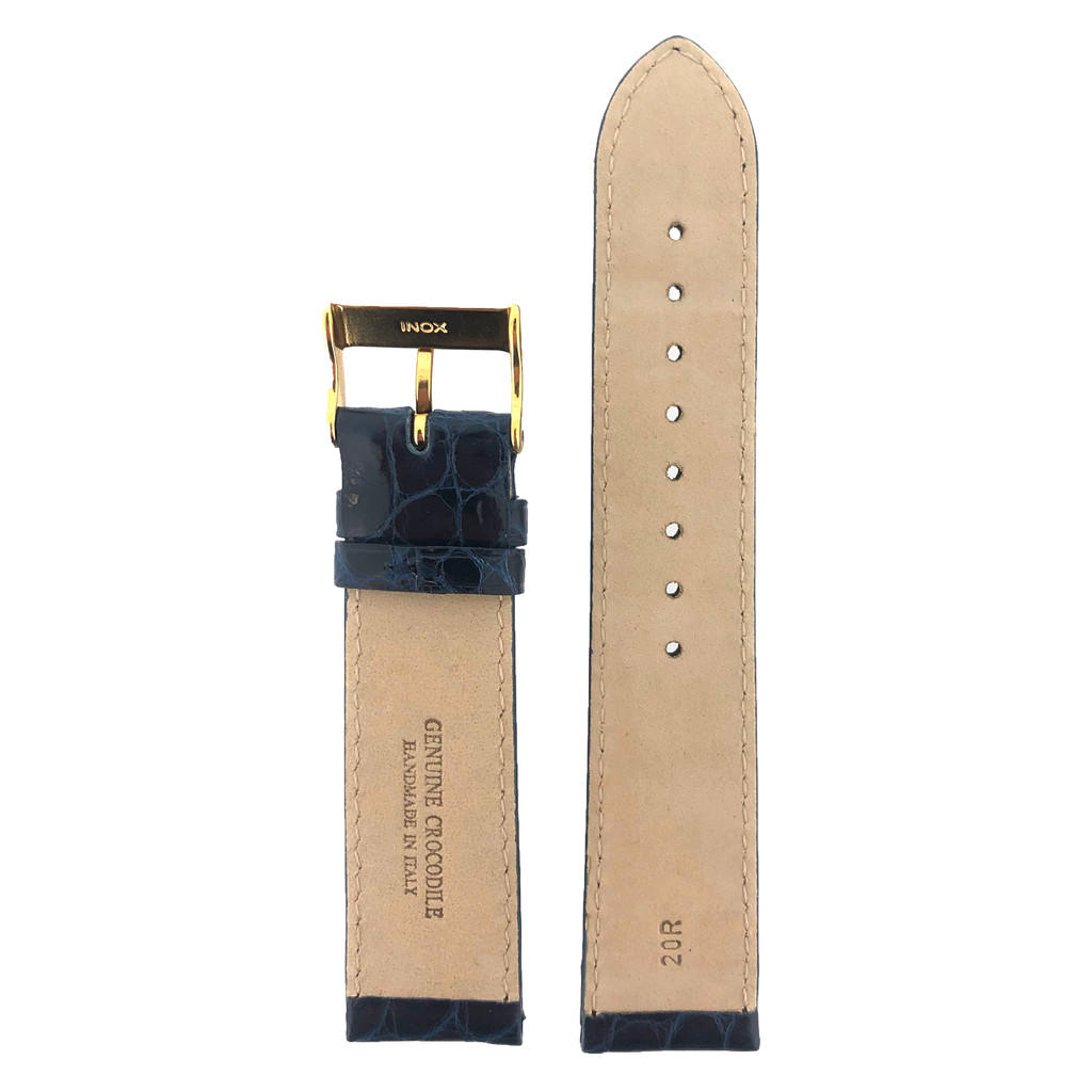 Navy Blue Crocodile Watch Strap - Back View
