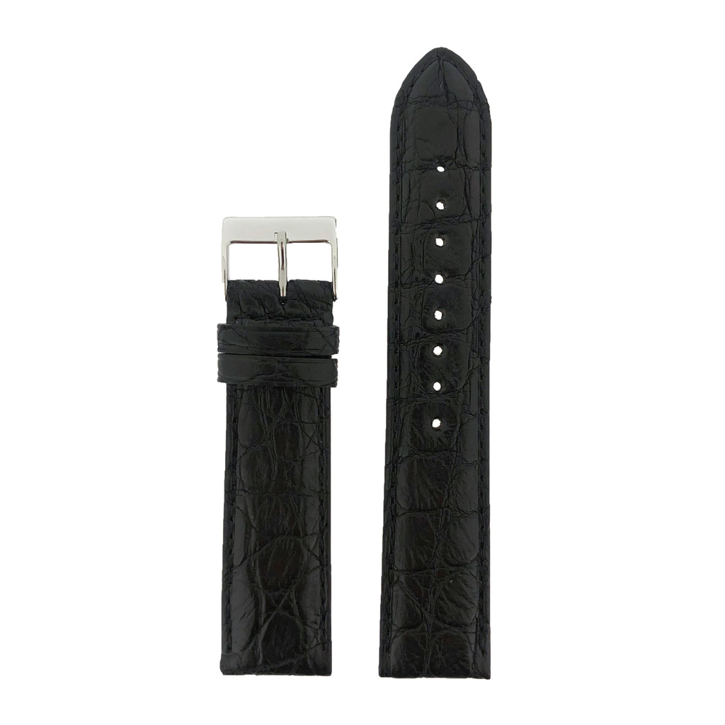 Crocodile Black Watch Band - Top