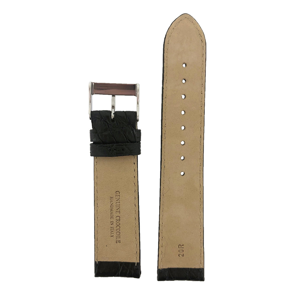 Crocodile Black Watch Band - Bottom