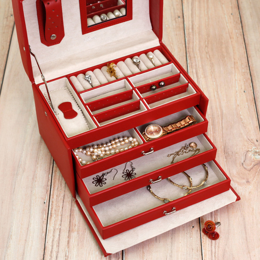 Red Leather Jewelry Chest | Ladies Red Jewelry Box | TechSwiss Jewelry Cases | Top