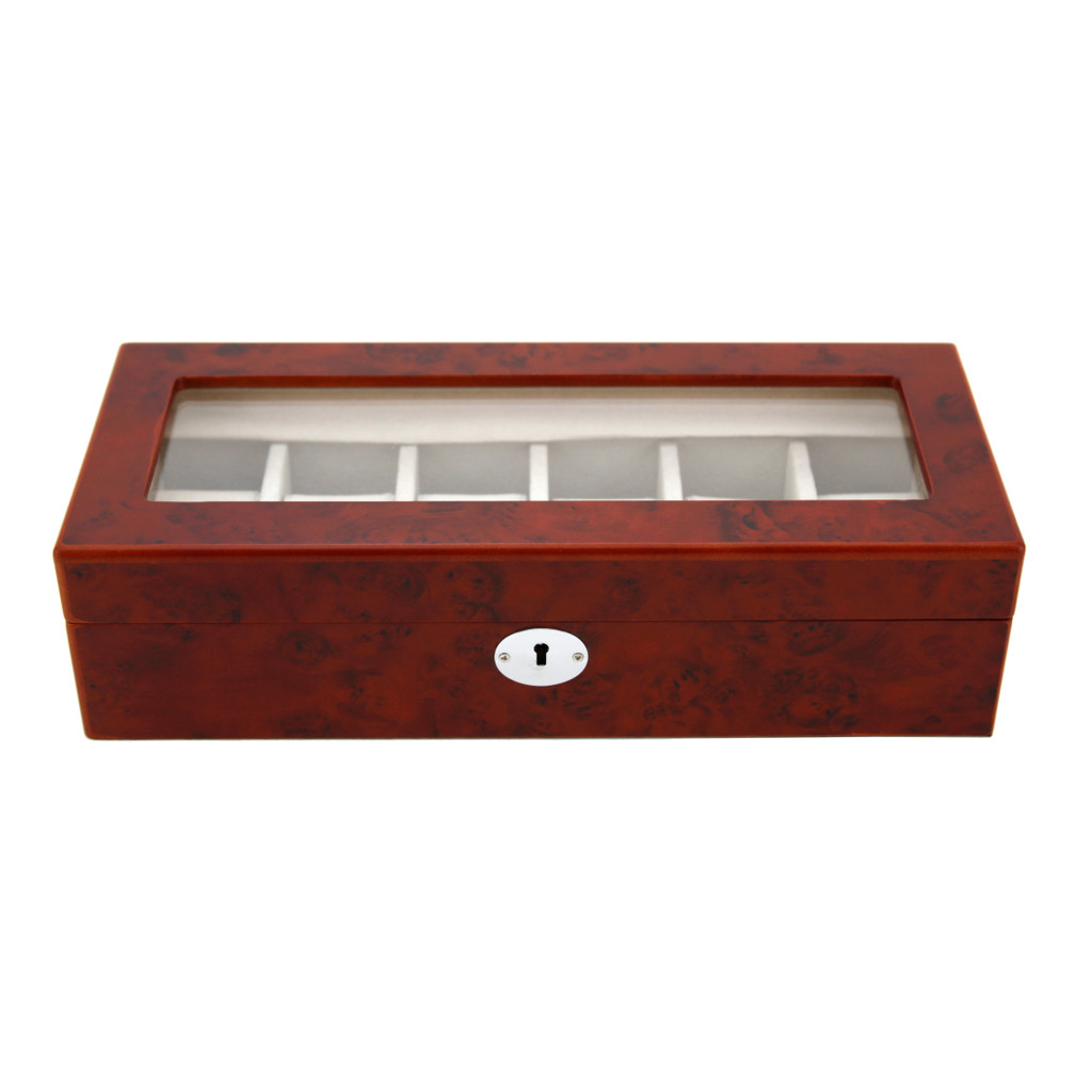 Brown Wood 6 Watch Box | TechSwiss |  Front