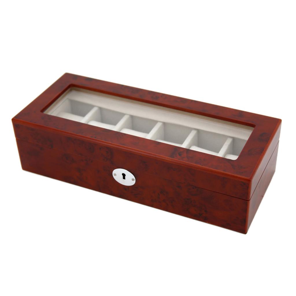 Brown Wood 6 Watch Box | TechSwiss |  Angle