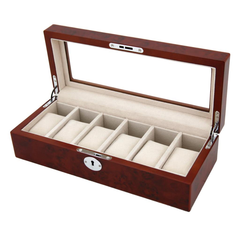 Brown Wood 6 Watch Box | TechSwiss |  Main