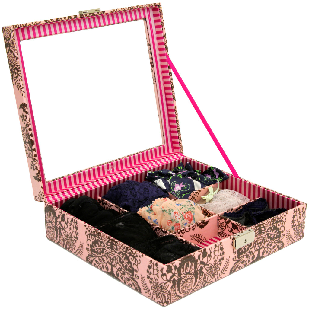 Fancy Multi Purpose Box Jewelry Box Storage Organizer Large Damask Pink