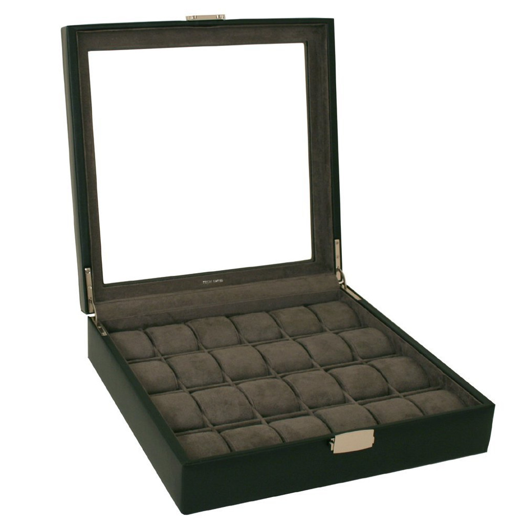 Factory Defect - Watch Box XL Single Level Leather 24 Large Compartments Glass Window - Black