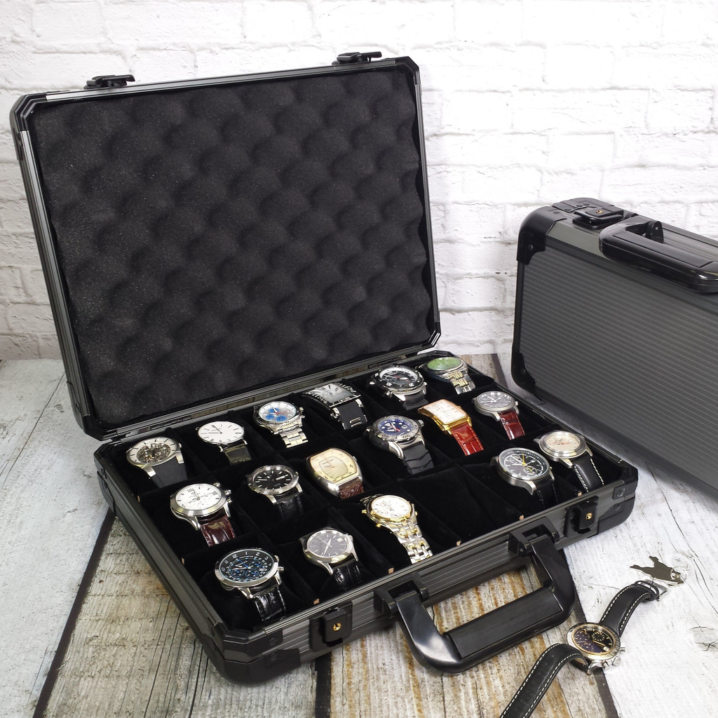 Watch Box 18 Gunmetal Aluminum Briefcase for Large Watches
