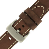 Panerai Watch Band Thick Brown Heavy Buckle | Saddle Brown Leather Panerai Inspired Watch Strap | TechSwiss LEA1555 | Top Buckle