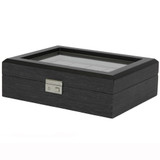 Grey 10 Watch Box With Window & Removable Tray TSBOX10100GREY Front Angle closed