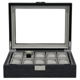 Grey 10 Watch Box With Window & Removable Tray TSBOX10100GREY Front Open