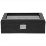 Grey 10 Watch Box With Window & Removable Tray TSBOX10100GREY Front closed