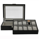 Grey 10 Watch Box With Window & Removable Tray TSBOX10100GREY Front Open tray out