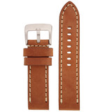 Panerai Style Watch Band Thick Tan Heavy Buckle LEA1553 | Front