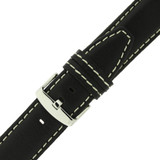 Black Leather Watch Band | TechSwiss Leather Watch Bands  | LEA1446 | Buckled