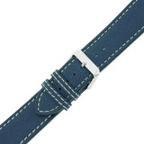 Watch Band Leather Distressed Blue White Stitching Heavy Buckle LEA440   TechSwiss   Buckled