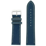 Watch Band Leather Distressed Blue White Stitching Heavy Buckle LEA440 | TechSwiss | Front